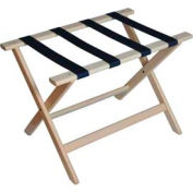 Deluxe Flat Top Wood Luggage Rack, Whitewash Finish, Navy Blue Straps 1 Pack