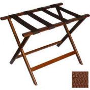 Economy Flat Top Wood Luggage Rack, Dark Oak, Brown Straps 1 Pack