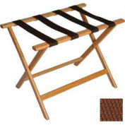 Economy Flat Top Wood Luggage Rack, Light Oak, Brown Straps 6 Pack - Pkg Qty 6