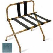High Back Zinc Luggage Rack with Back Strap - Black Straps - 1 Pack