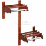 "60"" ADA Stylish Wood Coat Rack w/ Wood Top Bars & 5/8"" Mini Rod, Dark Oak"