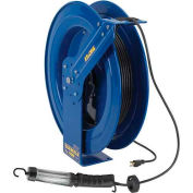 Coxreels EZ-PC24-0016-D Safety Spring Rewind Power Cord Reel Fluor Angle Light,100' Cord 16AWG