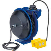 Coxreels PC13-5012-B Power Cord Spring Rewind Reel: Quad Industrial Receptacle, 50' Cord, 12 AWG