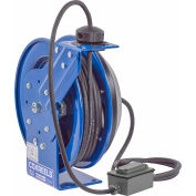 Coxreels PC13-5012-F Power Cord Spring Rewind Reel, Duplex GFCI Industrial Outlets, 50' Cord, 12 AWG