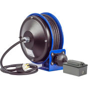 Coxreels PC13-5016-F Power Cord Spring Rewind Reel, Duplex GFCI Industrial Outlets, 50' Cord, 16 AWG