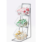 """Cal-Mil 1709 3 Tier Iron Condiment Display with Clear Bins 12""""W x 18""""D x 22""""H"""