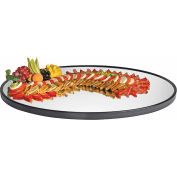 "Cal-Mil RR322 - Oval Mirror Tray with Black Trim 24""W x 32""D x 1""H"