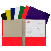 C-Line Products Recycled Two-Pocket Paper Portfolios with Prongs, Assorted Color - 100/Set
