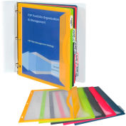 C-Line Products Binder Pocket with Write-on Index Tabs, Assorted, 8-1/2» x 11», 5/BX, 12 BX/Set
