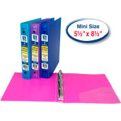C-Line Products Mini Size 3-Ring Poly Binder, 1 Inch Capacity - Pkg Qty 6