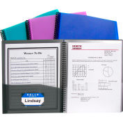 C-Line Products 8-Pocket Spiral-Bound Poly Portfolio, Assorted Color, 12 Clipboards/Set