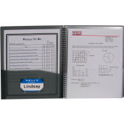 C-Line Products 8-Pocket Spiral-Bound Poly Portfolio, Smoke, 12 Clipboards/Set
