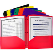 C-Line Products Two-Pocket Heavyweight Poly Portfolio Dossier - 3 Hole Punch, Couleurs assorties, 36/Set