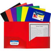 C-Line Products Two-Pocket Heavyweight Poly Portfolio Folder, Assorted Colors - 36 Folders/Set