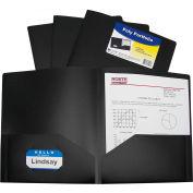 C-Line Products Two-Pocket Heavyweight Poly Portfolio Folder, Black, 25 Folders/Set