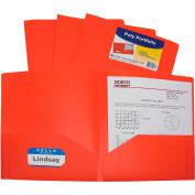 C-Line Products Two-Pocket Heavyweight Poly Portfolio Folder, Orange, 25 Dossiers/Set