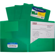 C-Line Products Two-Pocket Heavyweight Poly Portfolio Folder, Vert, 25 Dossiers/Set