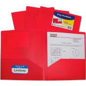 C-Line Products Two-Pocket Heavyweight Poly Portfolio Folder, Rouge, 25 Dossiers/Set