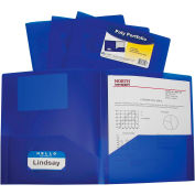 C-Line Products Two-Pocket Heavyweight Poly Portfolio Folder, Blue - Pkg Qty 18