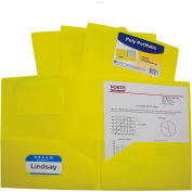 C-Line Products Two-Pocket Heavyweight Poly Portfolio Folder, Yellow - Pkg Qty 18