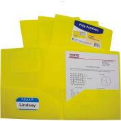 C-Line Products Two-Pocket Heavyweight Poly Portfolio Folder, Yellow, 25 Folders/Set