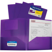 C-Line Products Two-Pocket Heavyweight Poly Portfolio Folder, Purple - Pkg Qty 18