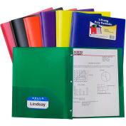 C-Line Products Two-Pocket Hywt Poly Portfolio Folder with Prongs, Assorted Colors - Pkg Qty 12