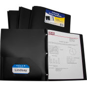 C-Line Products Two-Pocket Heavyweight Poly Portfolio Folder with Prongs, Black, 25 Folders/Set
