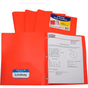 C-Line Products Two-Pocket Heavyweight Poly Portfolio Folder with Prongs, Orange, 25 Folders/Set