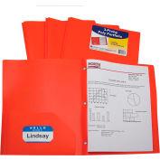 C-Line Products Two-Pocket Heavyweight Poly Portfolio Folder with Prongs, Orange, 25 Folders/Set