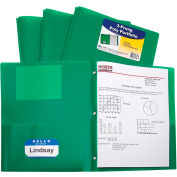 C-Line Products Two-Pocket Heavyweight Poly Portfolio Folder with Prongs, Green, 25 Folders/Set