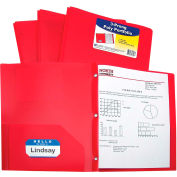 C-Line Products Two-Pocket Heavyweight Poly Portfolio Folder with Prongs, Red - Pkg Qty 12