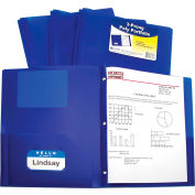 C-Line Products Two-Pocket Heavyweight Poly Portfolio Folder with Prongs, Blue, 25 Folders/Set