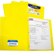 C-Line Products Two-Pocket Heavyweight Poly Portfolio Folder with Prongs, Yellow, 25 Folders/Set