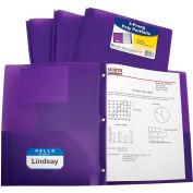 C-Line Products Two-Pocket Heavyweight Poly Portfolio Dossier avec Prongs, Purple, 25 Dossiers/Set