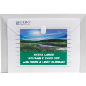 """C-Line Products Biodegradable Reusable Poly Envelopes, Side Load, 11""""W x 8-1/2""""H, Clear, 25/Pack"""