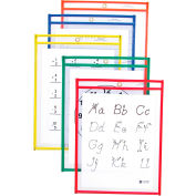 C-Line Products Reusable Dry Erase Pockets, Assorted Primary Colors, 9 x 12, 10/PK