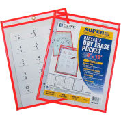 C-Line Products Reusable Dry Erase Pocket, Neon Red, 9 x 12 - Pkg Qty 10