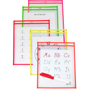 C-Line Products Reusable Dry Erase Pockets, Assorted Neon Colors, 6 x 9, 10/PK - Pkg Qty 2