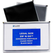 """C-Line Products Zip 'N Go Legal Size Reusable Poly Envelopes, 15""""W X 12""""H, Clear/Black, 5/Pack"""