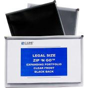 "C-Line Products Zip 'N Go Reusable Poly Envelopes, Legal Size, 15""W x 12""H, Black, 5/Pack"