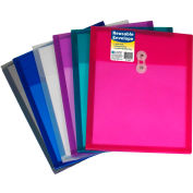 """C-Line Products Reusable Poly Envelopes, String Closure, 11""""W x 8-1/2""""H, Assorted, 24/Pack"""