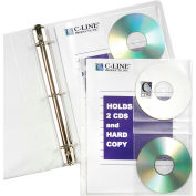 C-Line Products CD/Document Ring Binder Pages, 10 Binder Pages/Pack, 24 Packs/Set