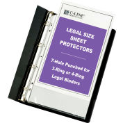 C-Line Products Hvywt Legal Poly Sheet Protector for 3 or 4-Ring Binders, Clear, 14 x 8-1/2, 50/BX