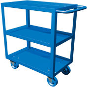 "Canway 18"" x 30"" Three-Shelf Service Cart, Blue, Rubber Wheel, 1.5"" Lip Shelf"
