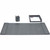 DACASSO® Black Leather 3-Piece Desk Set
