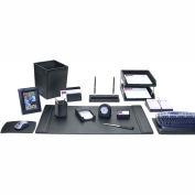 DACASSO® Black Leather 16-Piece Desk Set