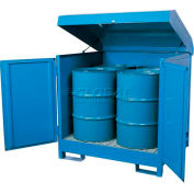 "Hazmat Outdoor 4 Drum Storage Station w/Containment, 56""W x 56""D x 55""H"