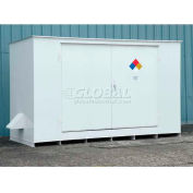 """Denios N-Series 16' 1""""W x 6' 6""""D x 8' 2""""H, Non-Combustible Outdoor Storage Building For 12 Drums"""