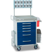 Detecto® Loaded Rescue Series Anesthesiology Medical Cart, White Frame with 6 Blue Drawers